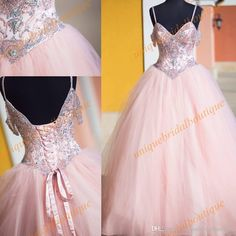 Quinceanera Dresses 2017 With Beaded Straps And Lace Up Back Real Image Ball Gown Pink Prom Dress With Short Sleeves Custom Made Online Dress Quinceanera Decorations From Uniquebridalboutique, $128.15| Dhgate.Com