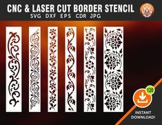 6 Border Cutting File For Laser, Cnc & Plasma, Cricut Floral Wall Stencil, Decorative Elegant Border Stencils Cnc Cutting Design, Laser Cutting, Decorative Screen Panels, Decorative Borders, Styrofoam Art, Laser Cut Lamps, Jaali Design, Wedding Backdrop Design, Custom Interior Doors
