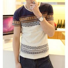 Stylish Round Neck Slimming Colorful Ethnic Print Short Sleeve Men's Cotton T-shirt found on dresslily.com