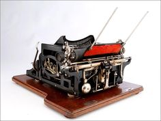 Old Typewriter Ideal A2 with a wooden box. Germany, Circa 1905