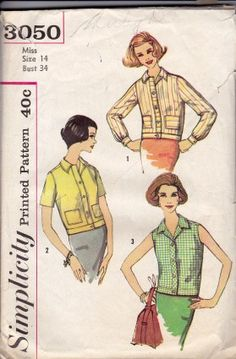 Simplicity 3050 Ladies Overblouse Vintage 1960's Sewing Pattern #1960s #blouse #ladies #simplicity #vintage #patterns #sewing #retro #vintagestitching