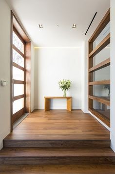 interior, Hilltop Home In Bel Air Wooden Flooring Wooden Small Table Modern Interior Design Ideas Wooden Staircase Chic Hallway Fresh Cut Flower White Wall Sliding Glass Door Interior Decoration Ceiling Lamp: Amazing Exterior and Interior Ideas for Hilltop Home in Bel Air