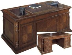 """72"""" Solid Wood Executive Desk with Leather Top FHD930 by Hekman Furniture. $4798.00. 2 pull out writing surfaces. Gold tooled brown leather top. Constructed of hardwood solids with cherry veneers. All drawers on metal slides. Central locking system locks all drawers. 72"""" Solid Wood Executive Desk with Leather TopbyHekman Furniture Trusted: 20+ Years Experience. Overall: 72 in W x 36 in D x 30 in H , Worksurface Depth: x 36 in D ,. Save 33% Off!"""