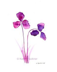 Watercolor Art Print: Purple Orchids. $20.00, via Etsy.