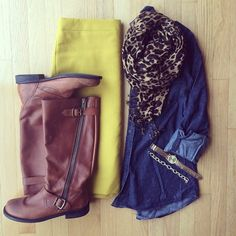 Chambray, Pencil Skirt, Leopard Scarf, Boots | #workwear #officestyle #liketkit | http://www.liketk.it/M2cs | IG: @whitecoatwardrobe