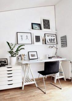 Picture rails – helping us arrange, and rearrange, and rearrange... #monochrome #office