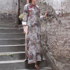 Vintage Buttons Ink Printing Dress