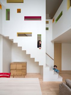 designer: Masahiko Sato What I like about: this design contains both functional storage and entertainments. the cut rectangles serve both as window and design elements. Interior Stairs, Interior And Exterior, Escalier Design, Estilo Interior, Stair Decor, House Stairs, Basement Stairs, Space Architecture, Online Architecture