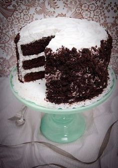 Magnolia White-Out Cake: Chocolate cake with meringue icing and cake crumbs