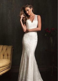 DELICATE LACE SATIN V-NECK NECKLINE TRUMPET WEDDING DRESS WITH BEADINGS SEXY LADY FORMAL PROM BRIDESSMAID GOWN
