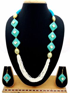 Indian Bollywood Fashion Women Chunky Turquoise Pearl Kundan Necklace Earrings #ShouryaExports #EthnicandContemporary