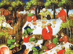 An illustration of noblemen enjoying a feast outdoors, from a French edition of The Hunting Book of Gaston Phebus, 15th century.