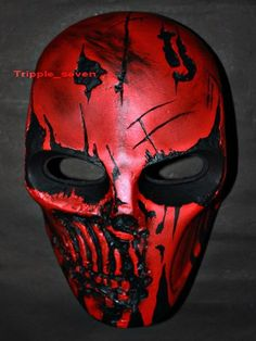 Army of two Airsoft Paintball BB Softair Gun Prop Helmet Salem Costume Cosplay Goggle Mask Maske Masque red punisher MA25