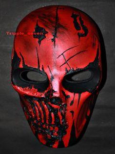 Ejército de dos punisher Airsoft Paintball BB Softair pistola Prop casco Salem Traje Cosplay Gafas máscara Maske Masque rojo MA25 et