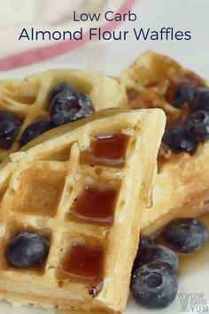 Delicious #lowcarbwaffles are just as tasty as ones made with wheat flour. These almond flour waffles can be made ahead and frozen for quick and easy breakfast. | LowCarbYum.com