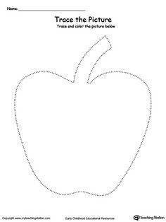 **FREE** Apple Picture Tracing Worksheet.Reinforce fine motor skills in your preschool child by tracing lines and coloring the picture.