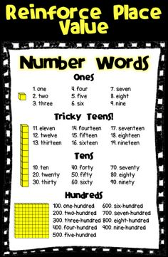 Number words poster that uses place value concepts and Base 10 blocks to demonstrate composition of a number word. I post this next to my number of the day poster digit) Math Charts, Math Anchor Charts, Math Place Value, Place Values, Kindergarten Math Worksheets, Teaching Math, Second Grade Math, Grade 2, Third Grade