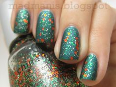 China Glaze Watermelon Rind + China Glaze Party Hearty + mat top coat  Love this so much, need to try!