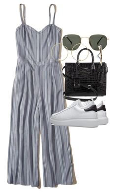 """""""Untitled #21426"""" by florencia95 ❤ liked on Polyvore featuring Hollister Co., Yves Saint Laurent, Ray-Ban and Diamonds Unleashed"""
