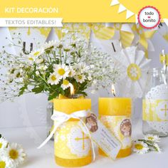 Primera Comunión Margaritas: Kit decoración - Todo Bonito First Communion Favors, Ideas Para Fiestas, Christening, Party Time, Decoupage, Baby Shower, Table Decorations, Gifts, Baptisms