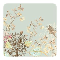Delicate branches with beautiful flowers.Meadow Sweet Beverage Napkins. Light blue background, shades of ivory, blush pink, and taupe, with soft green leaves.  Dark chocolate accents.The beverage napkin 5 inches square package of 16.