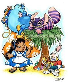 Alice and wonderland meets lilo and stitch