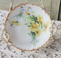 Antique Hand Painted  SUNNY DAISIES Plate  T & V by OnlyTreasures