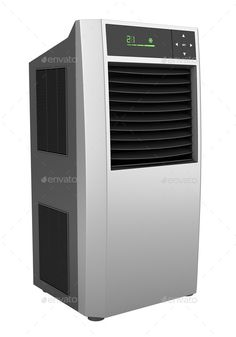 Modern black standing air conditioner. http://photodune.net/item/modern-black-standing-air-conditioner-isolated-on-white-background/9779524