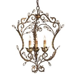 This lantern version of the popular crystal bud design has a light airy look. Its finish of Cupertino, highlighted by Gold Leaf, brings a depth and richness to its open design.