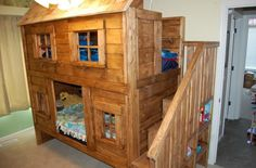 Rustic cabin bunk bed Do It Yourself Home projects by Ana White - Rustic cabin bunk bed Do It Yourself Home projects by Ana White - Bunk Beds Small Room, Cabin Bunk Beds, Bunk Beds With Stairs, Cool Bunk Beds, Kids Bunk Beds, Small Rooms, Cabin Loft, Bunk Beds For Toddlers, Bunk Bed Fort