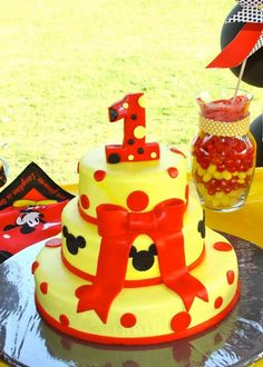 Cake at a Mickey Mouse Themed 1st Birthday Party with Lots of Awesome Ideas via Kara's Party Ideas | KarasPartyIdeas.com #MickeyMouse #PartyIdeas #PartySupplies #cake