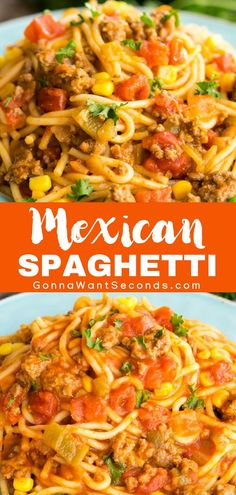 Easy Mexican Spaghetti - One Pot wonder! Filled with beef, pasta, tomatoes, corn and taco seasoning, this is a meal the whole family will love! Its also finished with a cheesy topping. Mexican Spaghetti is perfect for a busy weeknight dinner. New Recipes, Cooking Recipes, Favorite Recipes, Easy Beef Recipes, Recipies, French Recipes, Recipes With Diced Beef, Ground Chicken Recipes Easy, Spicy Food Recipes