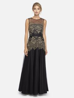 Embroidered Mesh A-Line Gown