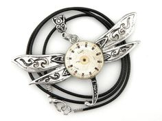 Goth Dragonfly Pendant  Silver Dragonfly Necklace  by SteamSect