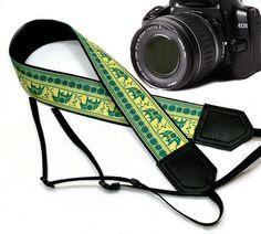 $33  Lucky Elephant camera strap. Ethnic camera strap. DSLR by InTePro