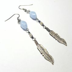 Only $6.29! - SALE Native American Inspired Long Repurposed Vintage Feather Charm Earrings w/Sky Blue Agate Twisted Glass Marquise Beads FREE USA SHIPPING https://www.etsy.com/listing/272940560/sale-native-american-inspired-long