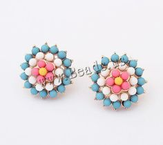 Resin Stud Earring, jewelry  http://www.beads.us/product/Resin-Stud-Earring_p115333.html