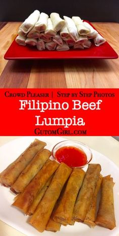 If you're going to a potluck or having people over for dinner, consider making these delicious Filipino beef lumpia! It's not only a crowd pleaser, but very easy to make. What makes this recipe so easy? Mexican Food Recipes, Beef Recipes, Cooking Recipes, Vegetarian Recipes, Lumpia Recipe Filipino, Lumpia Recipe Beef, Ground Beef Filipino Recipe, Lumpia Wrapper Recipe, Pinoy Food Filipino Dishes