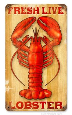 Live Lobsters Tin Sign
