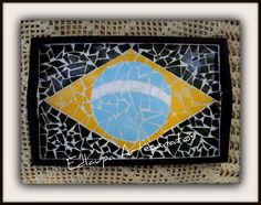 Bandeja em Mosaico Bandeira do Brasil Ref: bbm 037. R$90.00