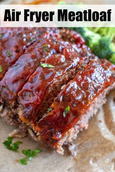 Air fryer meatloaf has an amazing crust on the outside and moist on the inside. Topped with a sauce that is so good you will want to use it on everything. You will love this easy meatloaf recipe! Air Fryer Oven Recipes, Air Frier Recipes, Air Fryer Dinner Recipes, Air Fryer Rotisserie Recipes, Grill Recipes, Easy Chicken Recipes, Shrimp Recipes, Easy Dinner Recipes, Meat Recipes