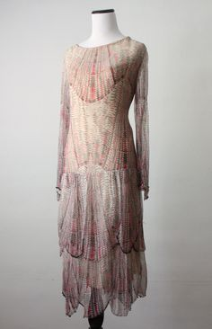 1920s silk beaded dress.