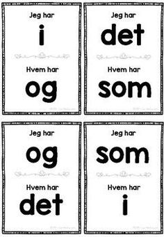 Jeg har, hvem har - Høyfrekvente ord Norwegian Words, Montessori Classroom, Teacher Appreciation Week, Norway, Language, Teaching, Activities, Education, Zeppelin