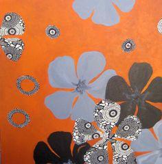 POPPIES original COLLAGE painting-POPPY 18x18 grey by devikasart