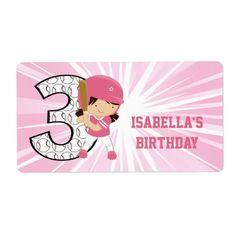 3rd Birthday Softball Batter Pink and White Custom Shipping Labels