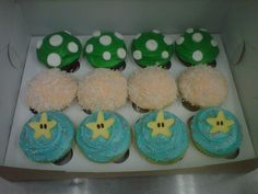 Video game themed cupcakes for the groom, by my bridesmaid Kaela at the Frosted Cupcakery.