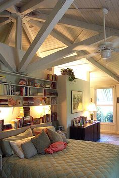 This Complex Post Beam System Along With A Paneled Wooden Ceiling Gives Room Visual Texture But Is Painted To Blend In The Homes Decor