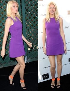 Gwyneth Paltrow in Purple Dress and Michael Kors Ankle-Wrap Sandals