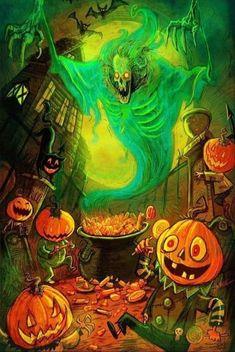 Halloween Artwork, Retro Halloween, Halloween Pictures, Halloween Wallpaper, Halloween Horror, Fall Halloween, Happy Halloween, Halloween Rules, Halloween Facts