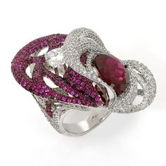 Кольцо с бриллиантом , турмалином и рубинами ...